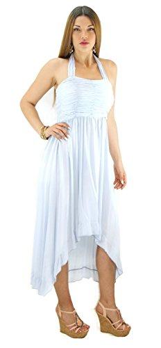 # 644robe Viscose Mini robe maxi robe longue d'été voile couleurs 343638Onesize Bleu - Bleu clair