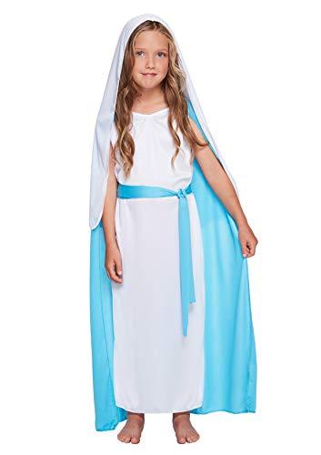Für Kleinkind Kostüm Awesome - christmasshop Weihnachtskrippe Mary Kostüm Kostüm - White/Blue - 46