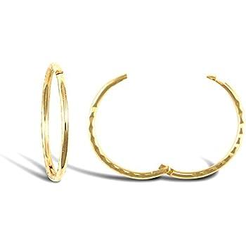 9ct Solid Gold Diamond Cut hinged sleeper earrings 12 14 16mm x 1 pair UK
