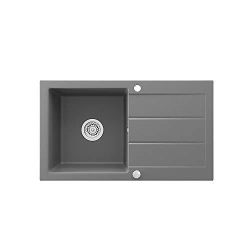 Bergström Spüle Küchenspüle Einbauspüle Spülbecken Granit Grau 750x434mm + Siphon + Drehexcenter