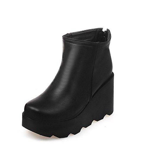 AgooLar Damen Hoher Absatz Rein Rund Zehe Weiches Material Stiefel mit Metallisch Schwarz