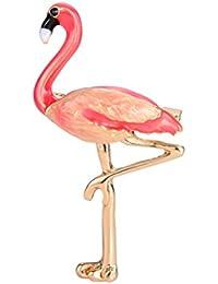 OULII Animal Flamingo Broche Pin de solapa de broche de flamenco de medio ambiente amigable con el medio ambiente (rojo)