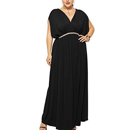 Lover-Beauty Kleider Damen Plus Size Große Größen Elegantes Langes Kleid Cocktailkleid Abendkleid Hochzeit Brautkleid mit kurz Ärmel Sachwarz XXL (Kurzes Kleid Plus Size Frauen)