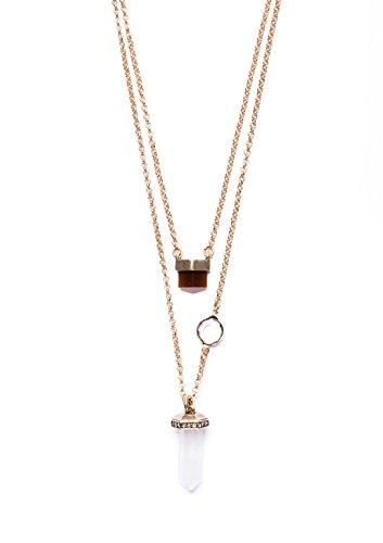 Happiness Boutique Damen Mehrreihige Kette mit Anhängern in Gold | 2 Reihige Charm Kristall Halskette (Minimal Ideen Kostüm)