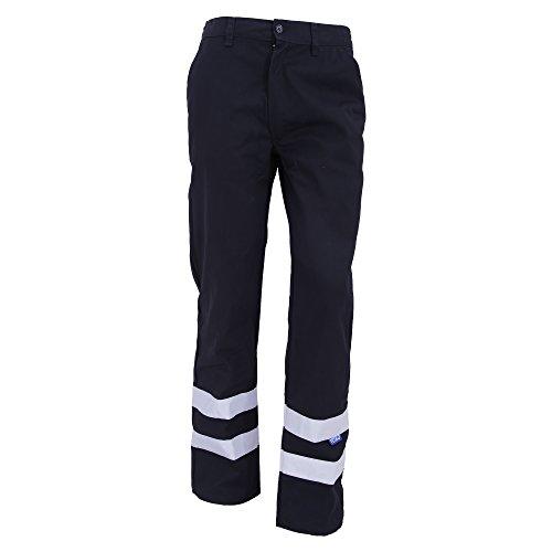 Yoko Hi Vis reflektierende Arbeitshose für Männer, Lange Beinlänge (Bund 86cm) (Marineblau) - Reflektierende Bund