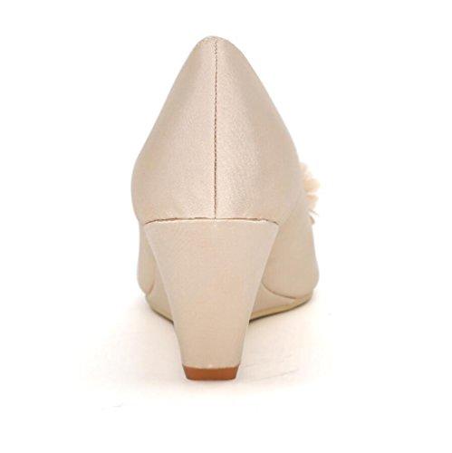 Ei&iLI Women 's scarpe da sposa di seta aperte davanti fiori Accenti cuneo scarpe partito dei vestiti da damigelle EU36-EU43 White