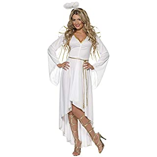 Smiffys Adult Women's Angel Costume, Dress, Belt, Halo and Wings, Wings and Wishes, Serious Fun, Size: L, 36977