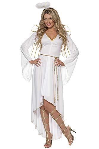 Große Kostüm Flügel Engel Schwarze Der - Smiffys, Damen Engel Kostüm, Kleid, Gürtel, Heiligenschein und Flügel, Größe: M, 36977