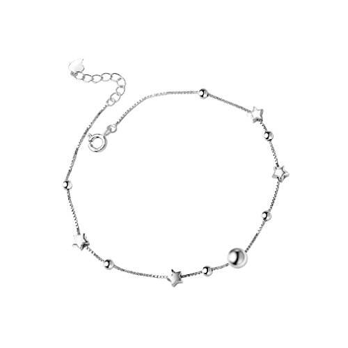 Elegant Sexy 925 Sterling Silver Simple Barefoot Star Shape Foot Anklet for Girls Ladies