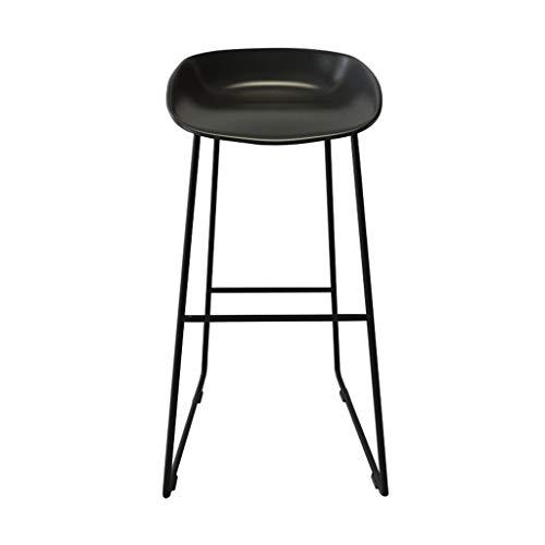 BZEI-Stuhl Moderne Barhocker Fußstütze Barhocker PP-Kunststoffsitz Essstühle für Küche/Geschäft / Büro/Restaurant Schwarze Metallbeine (Farbe : SCHWARZ)