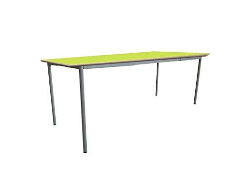 Mobeduc pour Enfant Extensible Table carrée, Bois, Vert Pomme, Taille 2, 120 x 80 x 53 cm