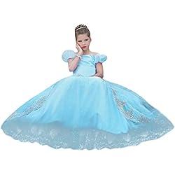 LUBITY ❤️Robe de Filles Enfant Robe de Cérémonie Enfants Filles Costume de Fête Déguisement Princesse Costume Cosplay Robe de Fée Demoiselle d'honneur Robe de Soirée