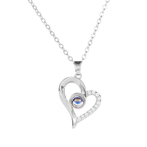 """Collar creativo, colgante de personalidad, 100 idiomas con texto en inglés""""I Love You"""", regalo de San Valentín"""