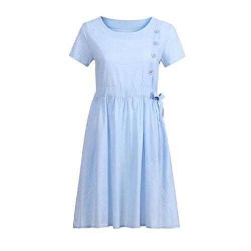 JUTOO Mode Frauen O Hals Tasche Baumwolle Leinen Lose Beiläufige Kleid(Blau,EU:44/CN:2XL) -