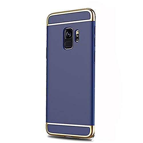 Samsung Galaxy S9/S9 Plus Hülle 3 en 1 360 Grad Galvanisieren Hartschale Handyhülle Ultra Dünn Stoßfest Handytasche Schutzhülle Trennbar Deckel Business-Stil Bumper (Blau, Samsung Galaxy S9)