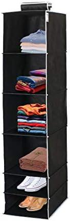 Wonder Cub Hanging organizer 6 Shelves Wardrobe Organiser - Black
