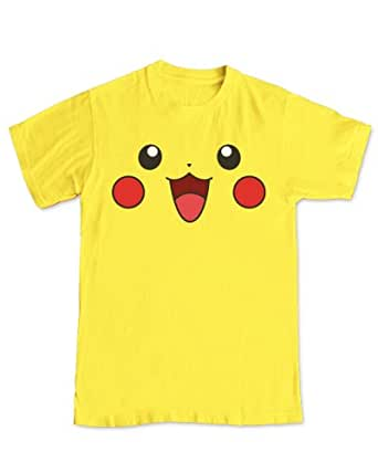 Pikachu Happy Face PokMon Gaming T-Shirt (M - Medium) Yellow
