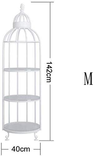 Porta fioriera in ferro battuto europeo soggiorno gabbia per uccelli scaffale tipo pavimento scaffale multistrato in legno massello espositore ristorante hotel mensola, o&yq, bianca, medio
