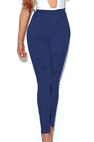 Le Donne In Autunno A Tempo Pieno Alto Vita Pantaloni Di Velluto Leggings Blue