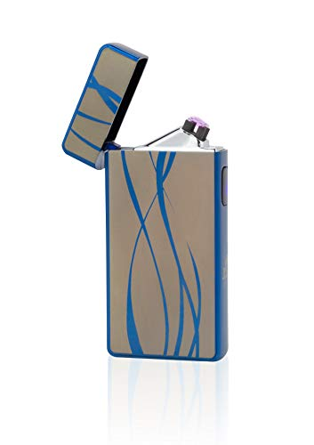 TESLA Lighter T13 Double Arc Blau inkl. Motiv Linien