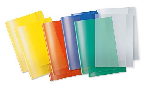 Herma 19992 - copertina per libri e quaderni formato a4, confezione da 10 pezzi, colori assortiti trasparenti