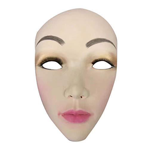 WOBANG Halloween deko Dress Up, Halloween-Thema Creative Halloween Prop Terror Scary Damen Maske schwarz Kostüm Accessoire Maske Damen 3D-Simulation Dame Make-up Maske