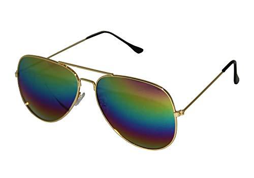 Foxxeo verspiegelte Pilotenbrille Regenbogen Karneval Party Brille Pilot Sonnenbrille