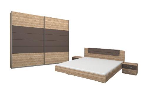 Rauch Schlafzimmer Komplett Set mit Bett 180x200, Schwebetürenschrank und Nachttischen, Eiche San Remo hell, Absetzungen Lavagrau (Matratze-komplett-sets Schlafzimmer)