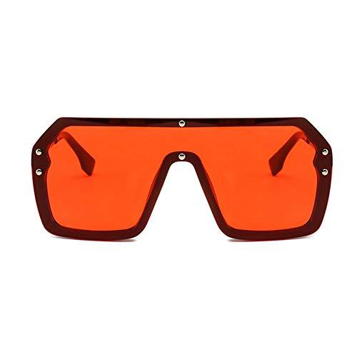 SYQA Übergroße Shield Visier Sonnenbrille Frauen große Sonnenbrille Männer transparenten Rahmen Vintage Big Windproof Retro-Brille,C6