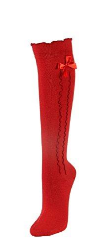 Trachten Kniestrümpfe für Damen Rot Gr. 39-42 - Schöne Strümpfe in verschiedenen Farben mit süßer Schleife und Rüschen