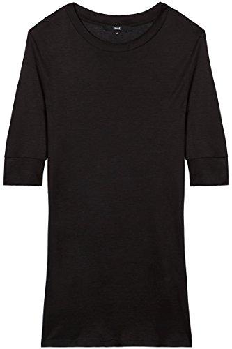 FIND Damen T-Shirt mit Weitem Ausschnitt Schwarz (Black)