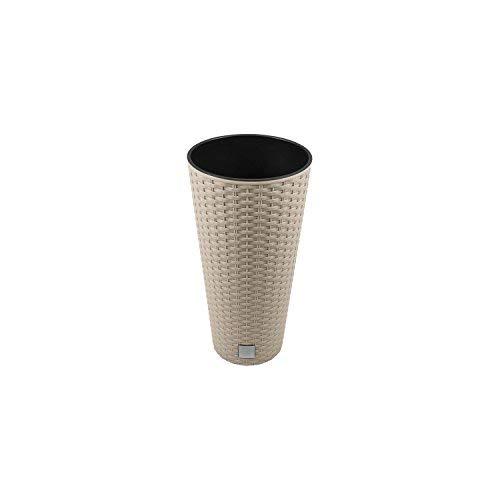 Blumentopf Pflanztopf Vase rund Oberfläche Imitation Rattan inkl. Pflanzeinsatz Mocca Gehäuse DRTUS 8 Liter