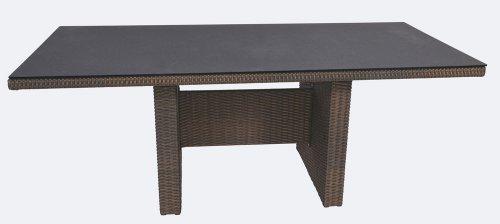 Gartentisch, Balkontisch, Terrassentisch, Spraystone, Rattantisch, braun, dunkelbraun, 220 x 100 cm