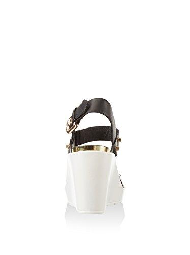 CAFèNOIR Damen He021 Kleid Sandalen Schwarz / Weiß