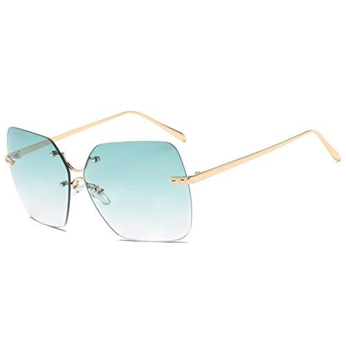 Übergroße quadratische Rahmen verspiegelte Linse Randlose Sonnenbrille for Damen Brille (Farbe : Grün)
