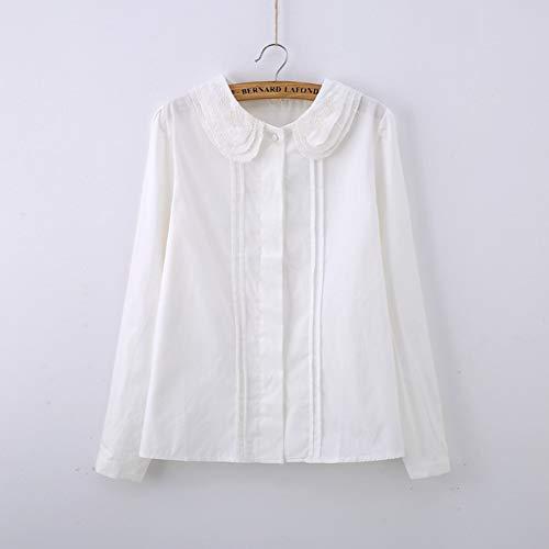 TTKANG Frauen-T-Shirt Nette Weiße Bluse Peter Pan Kragen Geraffte Spitze Stickerei Shirt Für Mädchen Langarm Femininas - T-shirt Peter Kinder Pan