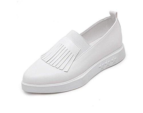 LDMB Women's Tassel weiße Schuhe zeigte flache Überschuhe Schuhe White