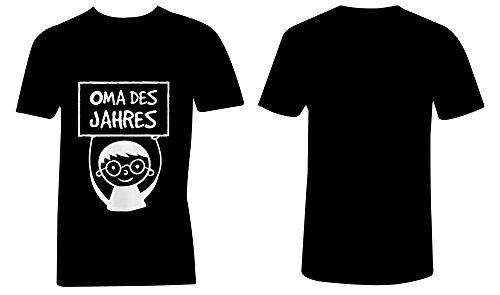 Oma des Jahres ★ V-Neck T-Shirt Männer-Herren ★ hochwertig bedruckt mit lustigem Spruch ★ Die perfekte Geschenk-Idee (01) schwarz