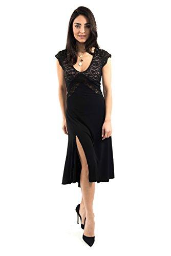 Das V-Argentinische Tango-Kleid ((UK) XL, Schwarze Jersey/schwarze Spitze) (Illusion-mieder-kleid)