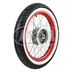 """Complet Cylindre de–Arrière–1,5""""X 16–Jante en alliage rouge anodisé et poli chromé rayons–Mitas Blanc mural de pneus MC2monté"""