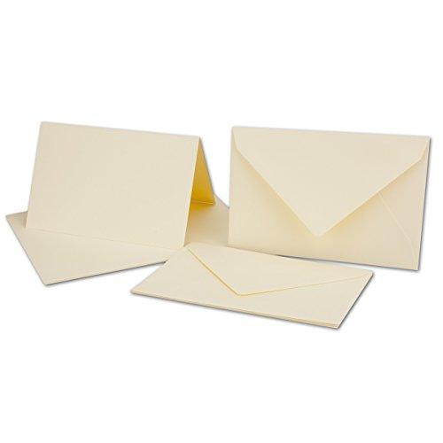 25 Sets // großes Kartenpaket mit 25 Faltkarten & 25 Umschlägen DIN B6 in Creme-Chamois // GERIPPT!