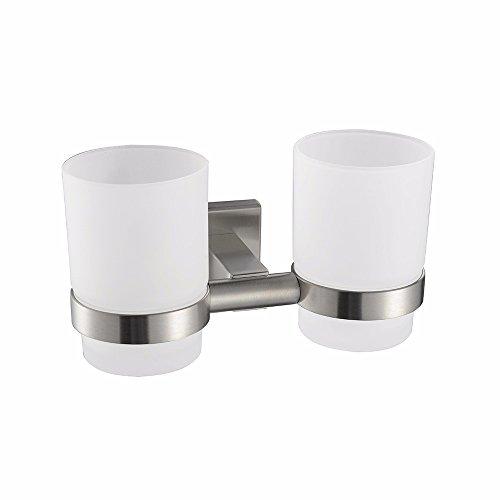 Salle de bains accessoires moderne 304 en acier inoxydable fil dessin carré base, double coupe brosse à dents porte-gobelet 175x96x100 MM