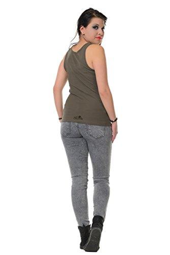 Girocollo Allentato Casuale Canotte Senza Maniche Serbatoio Migliori Camicie stampa punk di fata - Donna, da 3Elfen Verde