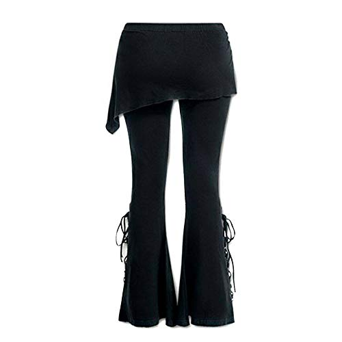 Solide lässige Jeans Malloom, Frauen Schwarz Bestickte Lässige Bandage Flares Punk Lace Up Bell Bottom Leggings Stripe Flare Leggings