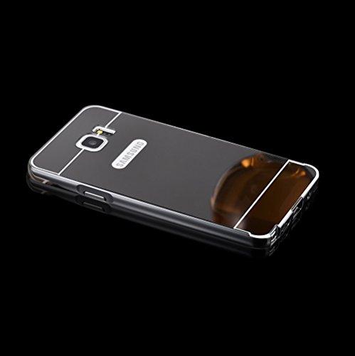 Minto Luxus Aluminium Metall Spiegelhülle Schutzhülle + Panzerglasfolie iPhone 5 / 5S / SE Spiegel PC Rückseite Case Cover Hülle Gold + Metall Bumper Rahmen Echtglas Hartglas Schutzfolie 9H Schwarz -note 5