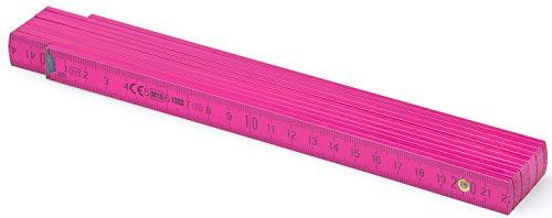 MetrieTM BL52 Holz Zollstock/Zollstöcke |2m langer Gliedermaßstab, Maßstab|Meterstab mit Duplex-Teilung - Rosa