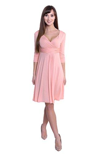 Kleid A-Linie Tunika Mini Kleid mit Raffungen überlappender V-Ausschnitt, 4400 Altrosa