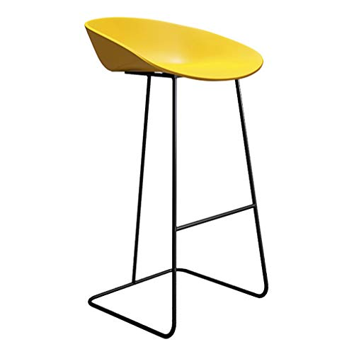 Barhocker Frühstücksküche Theke Barhocker Fußstütze mit gelb gebogenem Sitz Esszimmerstuhl for die Küche |Pub |Café Hochhocker Metallbein max.Laden Sie 200 kg