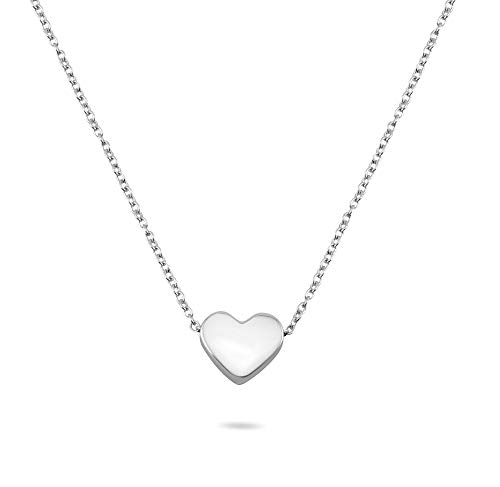 Nuoli® Herzkette Silber 925 (45 cm) filigrane Kette mit Herz für Damen, Halskette mit Herzanhänger, 925 Sterling Silber Schmuck