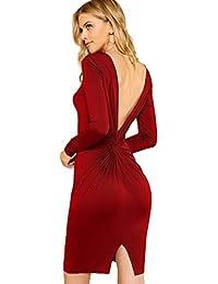 596e6d921216 DIDK Femme Robe Moulante Tordue en V Au Dos Robe au Genou Crayon Manches  Longues pour